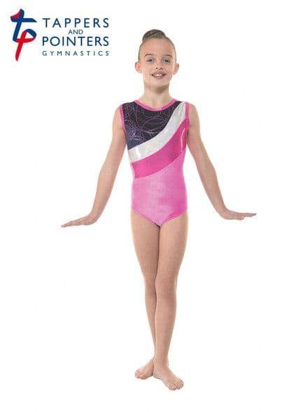 Tappers and Pointers Gym 30 Pink Velvet and Foil Sleeveless Gymnastic Leotard