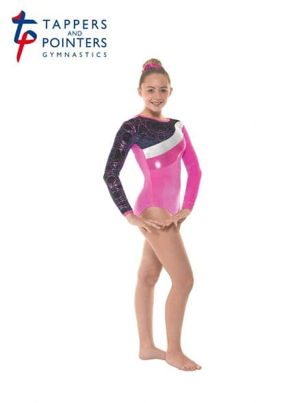 Tappers and Pointers Gym 31 Pink Velvet and Foil Long Sleeve Gymnastic Leotard