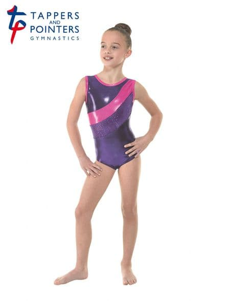 Tappers and Pointers Gym 33 Sugar Plum Velvet Shine Sleeveless Gymnastic Leotard