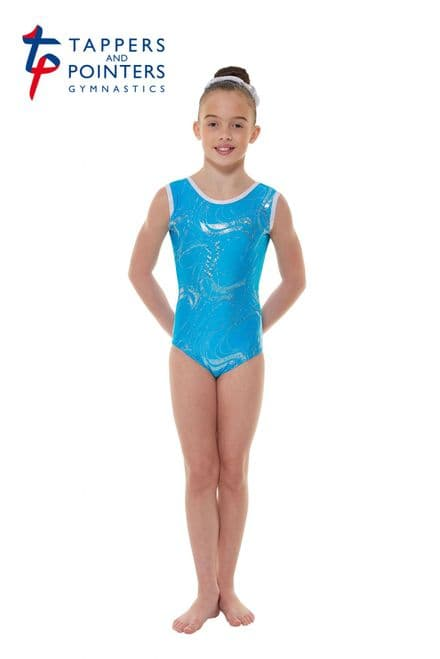 Tappers and Pointers GYM 35 Kingfisher Lycra and Silver Hologram Sleeveless Gymnastic Leotard