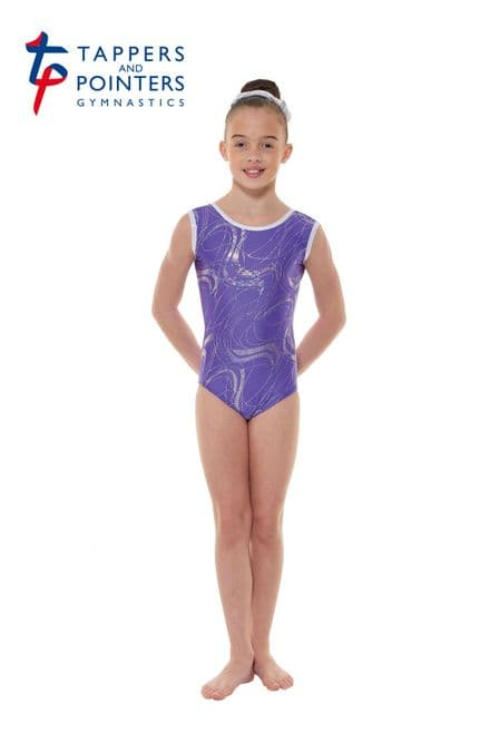 Tappers and Pointers GYM 35 Purple Lycra and Silver Hologram Sleeveless Gymnastic Leotard