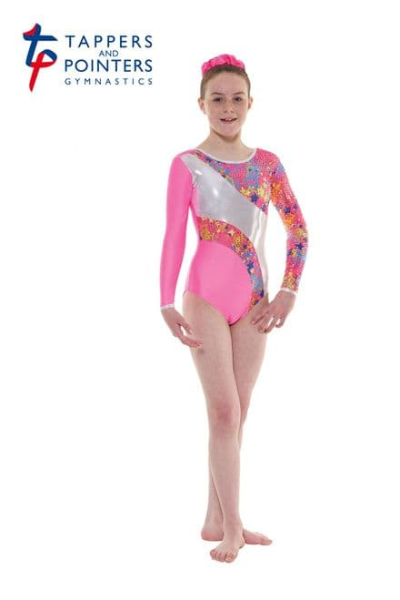 Tappers and Pointers Gym 40 Pink Lycra and Metallic Astro Foil Long Sleeve Gymnastic Leotard