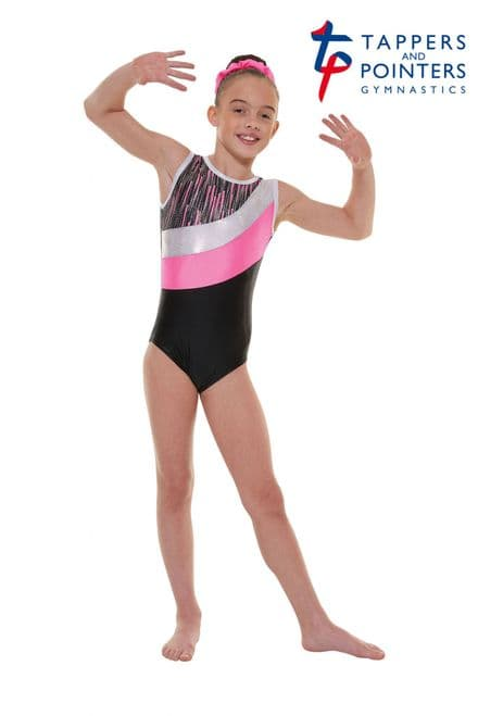 Tappers and Pointers Gym 43 Black And Pink Cascade Shine Lycra Sleeveless Gymnastic Leotard
