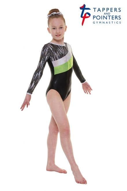 Tappers and Pointers Gym 44 Black And Lime Cascade Shine Lycra Long Sleeve Gymnastic Leotard