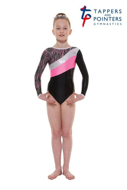 Tappers and Pointers Gym 44 Black And Pink Cascade Shine Lycra Long Sleeve Gymnastic Leotard