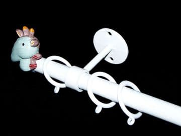 1.2m - 2.1m Childrens Extendable Ceiling  Curtain Pole with GIRAFFE Finials