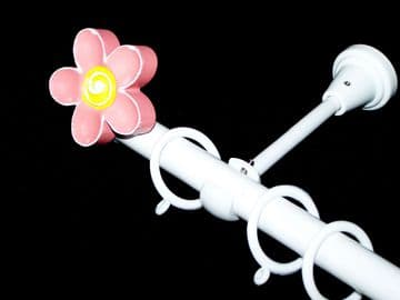 1.2m - 2.1m Designer Extendable Curtain Pole with 3D FLOWER Finials