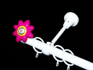 1.2m - 2.1m Designer Extendable Curtain Pole with HOT PINK FLOWER Finials