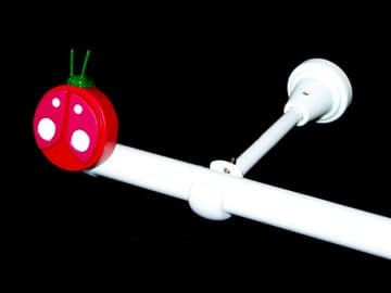 1.2m - 2.1m Designer Eyelet Extendable Curtain Pole with LADYBIRD Finials