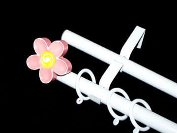 1.2m - 2.1m Double Layer Extendable Curtain Pole with 3D FLOWER Finials