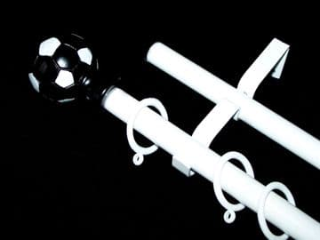 1.2m - 2.1m Double Layer Extendable Curtain Pole with Black & White FOOTBALL Finials
