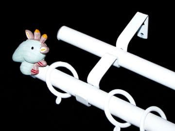 1.2m - 2.1m Double Layer Extendable Curtain Pole with GIRAFFE Finials