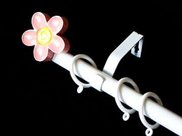 1.2m - 2.1m Extendable Curtain Pole with Pink Flower Finials