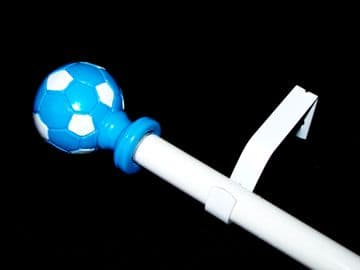 1.2m - 2.1m Extendable Eyelet Curtain Pole with Blue & White Football Finials