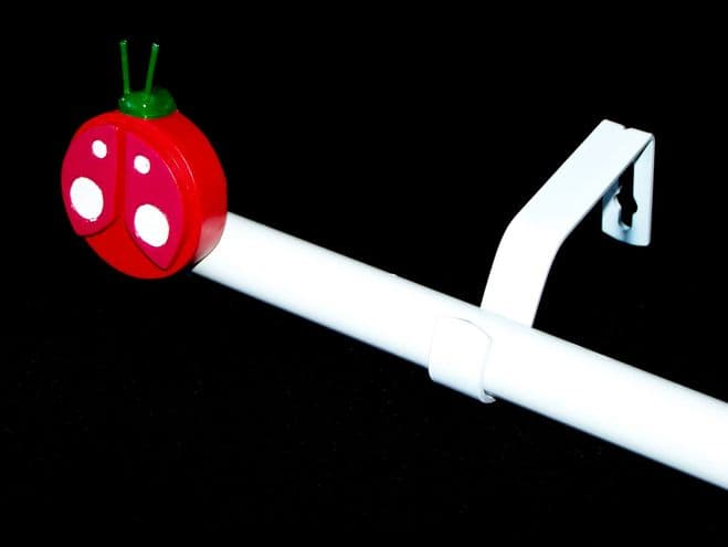 1.2m - 2.1m Extendable Eyelet Curtain Pole with LADYBIRD Finials