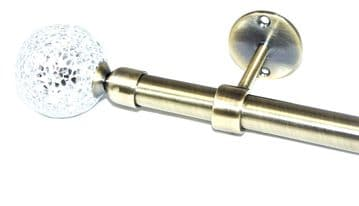 16/19mm Antique Brass Extendable Eyelet Ceiling Curtain Pole with Mosaic Finials 1.5 - 3m