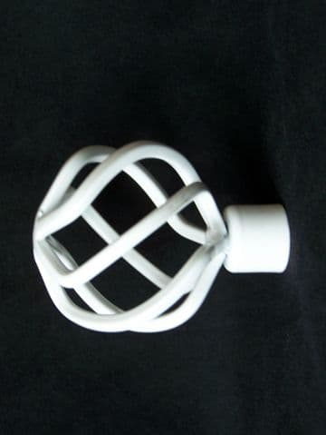 16/19mm Gloss White Twisted Cage Curtain Pole Finials
