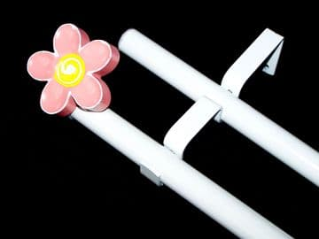 19/19mm Double Layer Eyelet pole with 3D Flower Finials 1.2m 1.5m 2.4m 3m