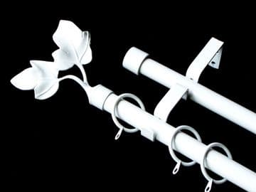 19/19mm Double Layer Gloss White Curtain Pole Twin Leaf Finials 1.2m 1.5m 2.4m 3m