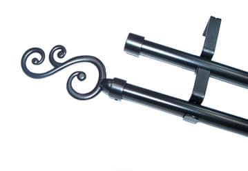 19/19mm Double Layer Matt Black Eyelet Curtain Pole Curved 1.2m 1.5m 2.4m 3m