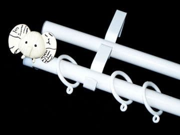 19/19mm Double Layer White Childrens ELEPHANT Curtain Pole 1.2m 1.5m 2.4m 3m