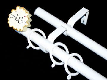 19/19mm Double Layer White Childrens Lion Curtain Pole 1.2m 1.5m 2.4m 3m