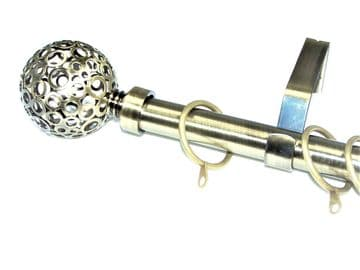 19mm Antique Brass Curtain Pole with Circle Ball Finials C Rings 3.6m 4.5m 4.8m 6m