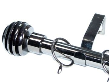 19mm Black Nickel Curtain Pole with Sliced Ball Finials 3.6m 4.5m 4.8m 6m