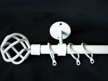 19mm Gloss White Ceiling Hung Curtain Pole with Twisted Cage Finials 1.2m 1.5m 2.4m 3m
