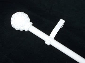 19mm Gloss White Eyelet Curtain Pole System Abstract Ball Finials 1.2m 1.5m 2.4m 3m
