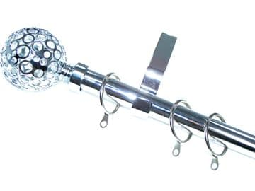 19mm Polished Chrome Curtain Pole System w Circle Ball Finials 1.2m 1.5m 2.4m 3m