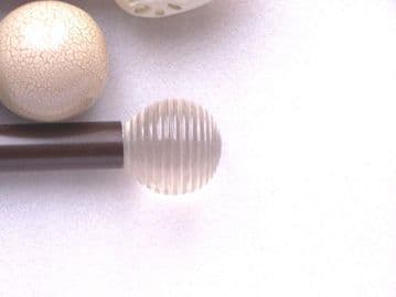 25/28mm Extendable Chocolate Brown Curtain Pole w Acrylic Clear Ball Finials 3m