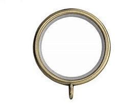 25mm - 28mm Antique Brass LINED Metal Curtain Pole Rings  Quiet Glider Nylon Inner