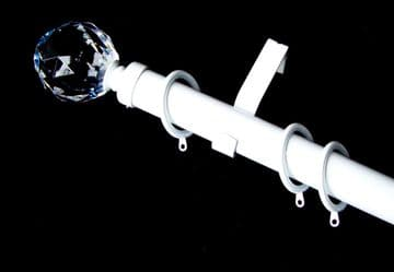 35mm White Curtain Pole System Crystal Ball Finials & Glider Rings 1.2m 1.5m 2.4m 3m