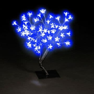 45cm Blue LED Lit Cherry Blossom Tree Christmas Decoration Indoor Outdoor 48 Leds