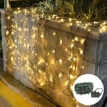 50 Warm White LED Fairy Lights Mains Operated Multi-Action 8 Settings GREEN CABL