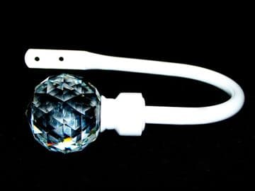Large Gloss White Cut Glass Crystal Ball Curtain Tiebacks / Holdbacks.