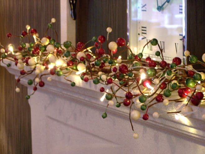 Luxury 5ft Lg Gloss Red Cream Green Berry Christmas Garland Table Decoration Lit