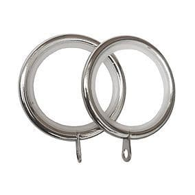 Polished Chrome 16mm - 19mm LINED Metal Curtain Pole Rings Quiet Nylon Glider 28mm
