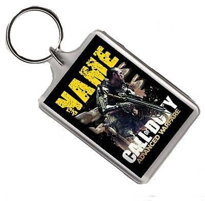 Personalised Name Added Call Of Duty Advance Warfare Keyring, Large or Jumbo
