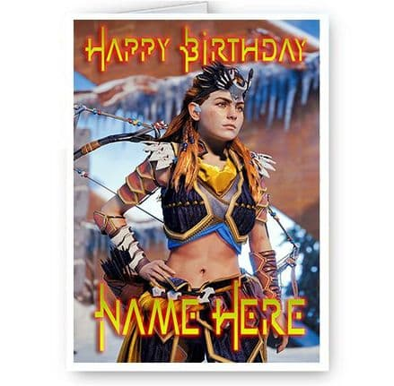 Aloy Horizon Zero Dawn Personalised A5 All Occasion Birthday, Christmas Card