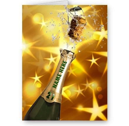 Any Name & Age Personalised Champagne Bottle Theme A5 Birthday Card