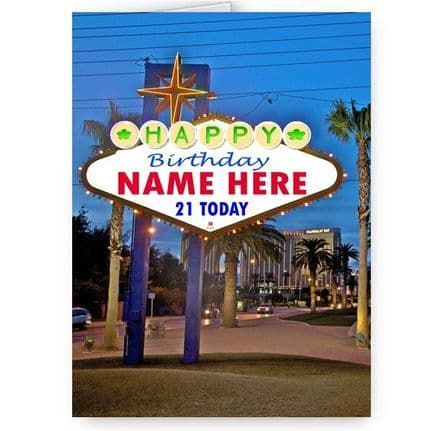 Any Name & Age Personalised Las Vegas Sign A5 Birthday Card