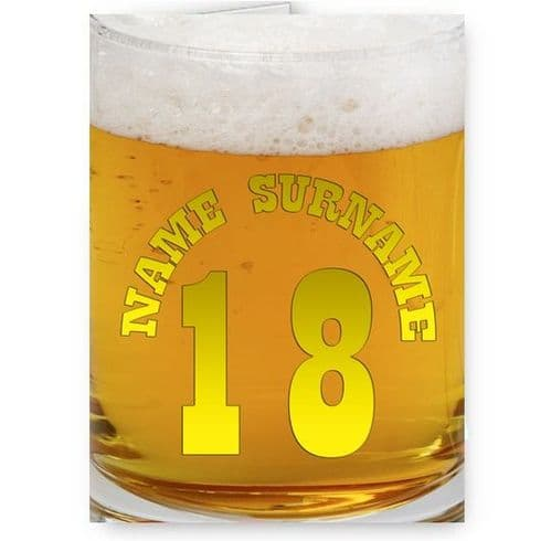 Any Name & Age Personalised Pint Of Beer, Larger, Alcohol A5 Birthday Card