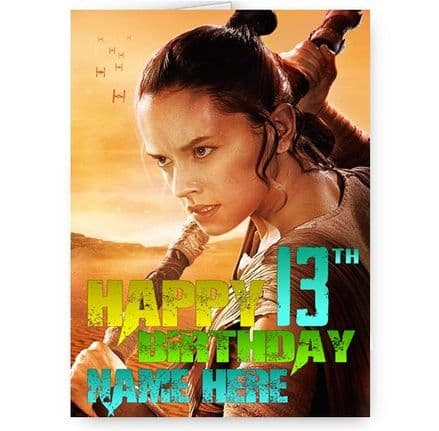 Any Name & Age Star Wars The Force Awakens, Rey, Personalised A5 Birthday Card