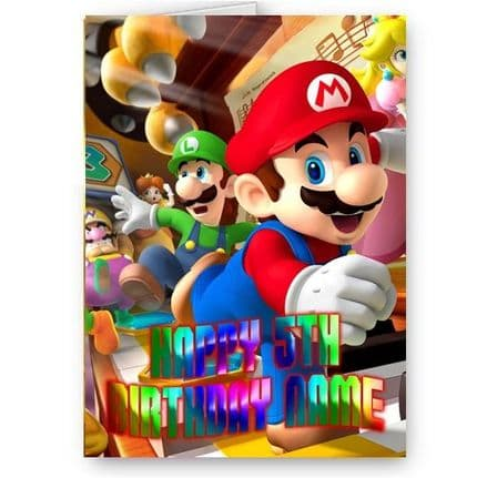 Any Name, Age, Super Mario Bros Happy Birthday A5 Card with Envelope