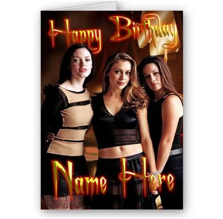 Any Name, Charmed, Piper, Phoebe, Paige, A5 Birthday Card