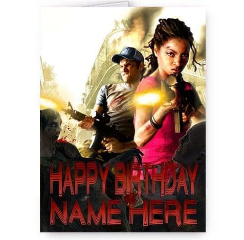 Any Name Left 4 Dead Game Theme A5 Happy Birthday Card