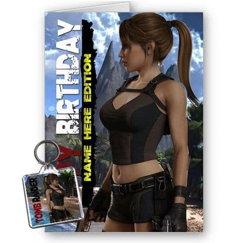 Any Name Personalised Lara Croft, Tomb Raider A5 Happy Birthday With FREE Keyring