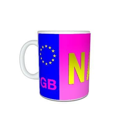Any Name Personalised Pink Number License Plate 11oz Large Handle Mug